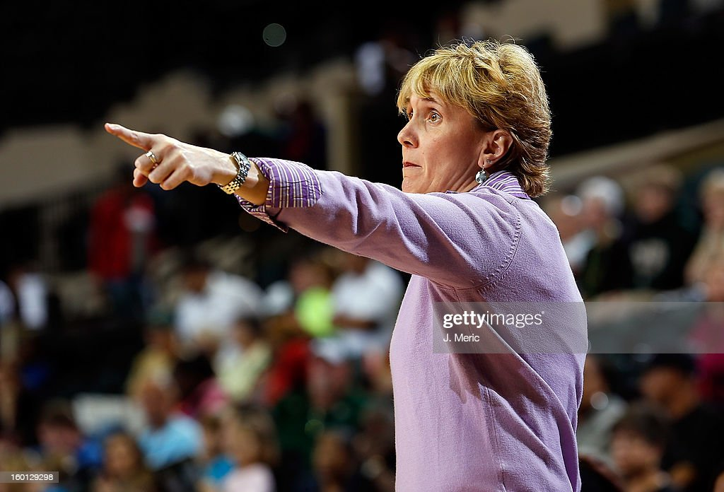 Head coach Terri Mitchell of the Marquette Golden Eagles directs her team against the South Florida Bulls during the game at the Sun Dome on January 26, 2013 in Tampa, Florida.