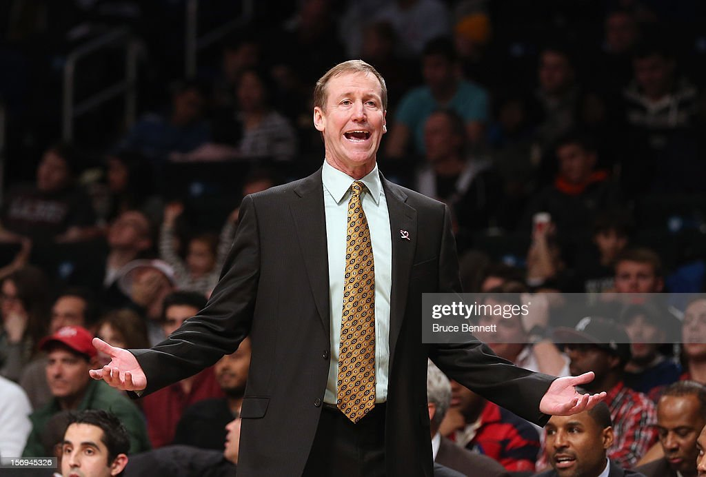 Head coach Terry Slotts of the Portland Trail Blazers argues a call with the officials in the game against the Brooklyn Nets at the Barclays Center on November 25, 2012 in the Brooklyn borough of New York City.
