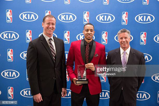 Head Coach Terry Stotts and General Manager Neil Olshey joins CJ McCollum of the Portland Trail Blazers as he receives the 201516 Most Improved...