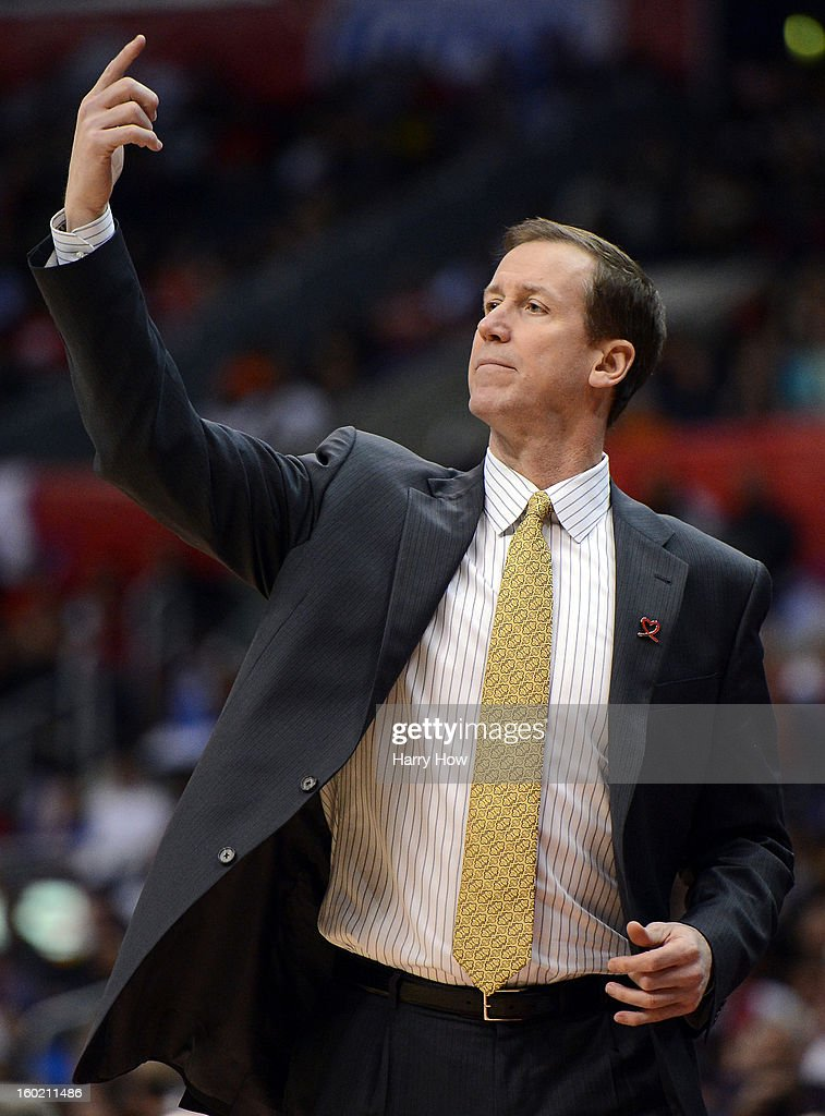 Head Coach Terry Stotts of the Portland Trail Blazers calls a play during the game against the Los Angeles Clippers at Staples Center on January 27, 2013 in Los Angeles, California.