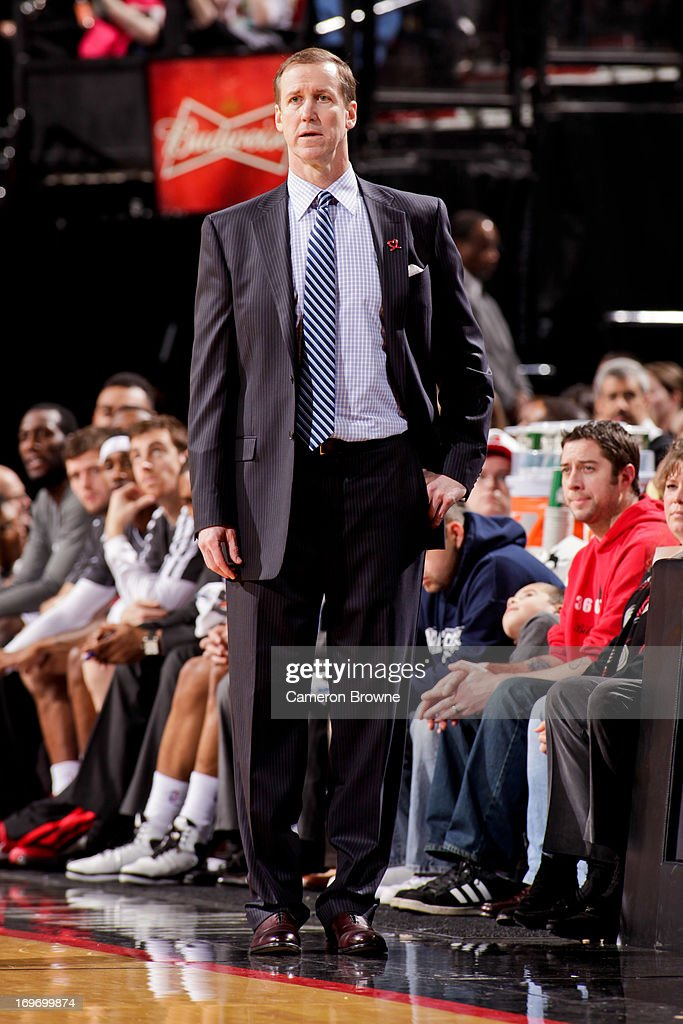 Head Coach Terry Stotts of the Portland Trail Blazers looks on as his team plays against the Milwaukee Bucks on January 19, 2013 at the Rose Garden Arena in Portland, Oregon.