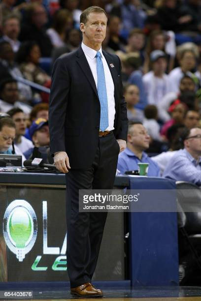 Head coach Terry Stotts of the Portland Trail Blazers reacts during the first half of a game against the New Orleans Pelicans at the Smoothie King...