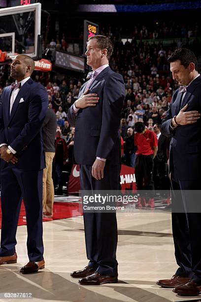 Head Coach Terry Stotts of the Portland Trail Blazers stands for the National Anthem before the game against the Memphis Grizzlies on January 27 2017...