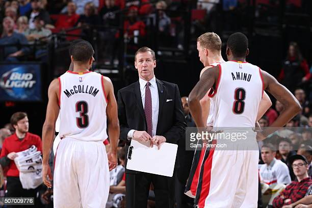 Head Coach Terry Stotts of the Portland Trail Blazers talks to his team during the game against the Sacramento Kings on January 26 2016 at the Moda...
