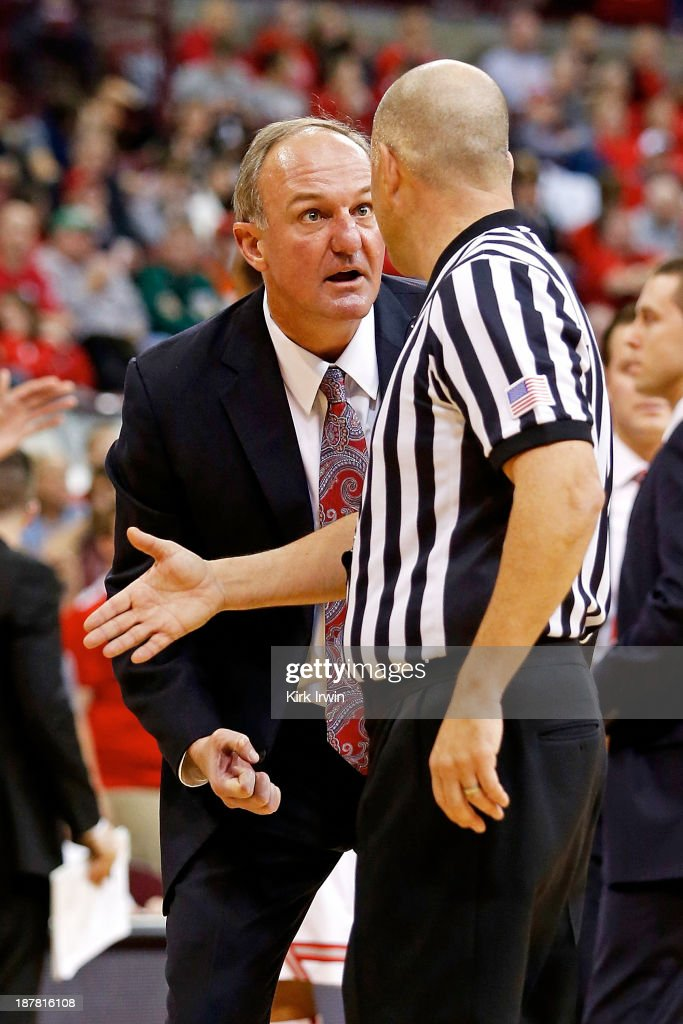 Head coach <a gi-track='captionPersonalityLinkClicked' href=/galleries/search?phrase=Thad+Matta&family=editorial&specificpeople=799910 ng-click='$event.stopPropagation()'>Thad Matta</a> of the Ohio State Buckeyes argues with an official after Aaron Craft (not pictured) of the Buckeyes was called for a charge during the second half at Value City Arena on November 12, 2013 in Columbus, Ohio. Ohio State defeated Ohio 79-69.
