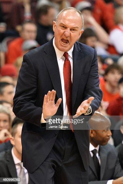 Head Coach Thad Matta of the Ohio State Buckeyes attempts to get the referee's attention about a call in the second half of the game against the...