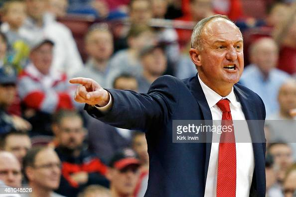 Head Coach Thad Matta of the Ohio State Buckeyes calls out instructions to his players during the game against the Iowa Hawkeyes at Value City Arena...