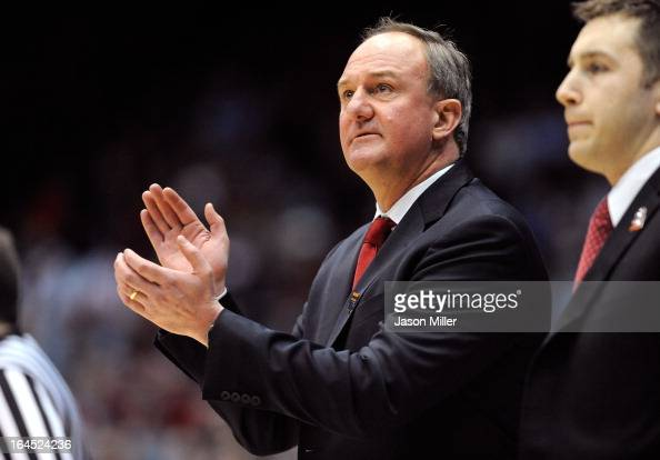 Head coach Thad Matta of the Ohio State Buckeyes claps on the sideline in the first half against the Iowa State Cyclones during the third round of...