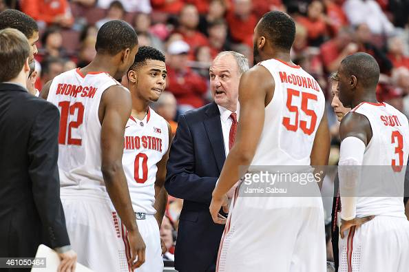 Head Coach Thad Matta of the Ohio State Buckeyes instructs his team during a game against the Illinois Fighting Illini on January 3 2015 at Value...