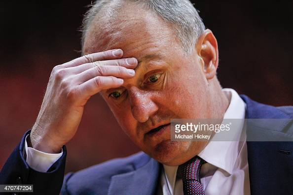 Head coach Thad Matta of the Ohio State Buckeyes is seen during the game against the Indiana Hoosiers at Assembly Hall on January 10 2015 in...