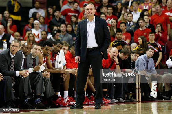 Head coach Thad Matta of the Ohio State Buckeyes looks on the second half against the Maryland Terrapins at Xfinity Center on January 16 2016 in...