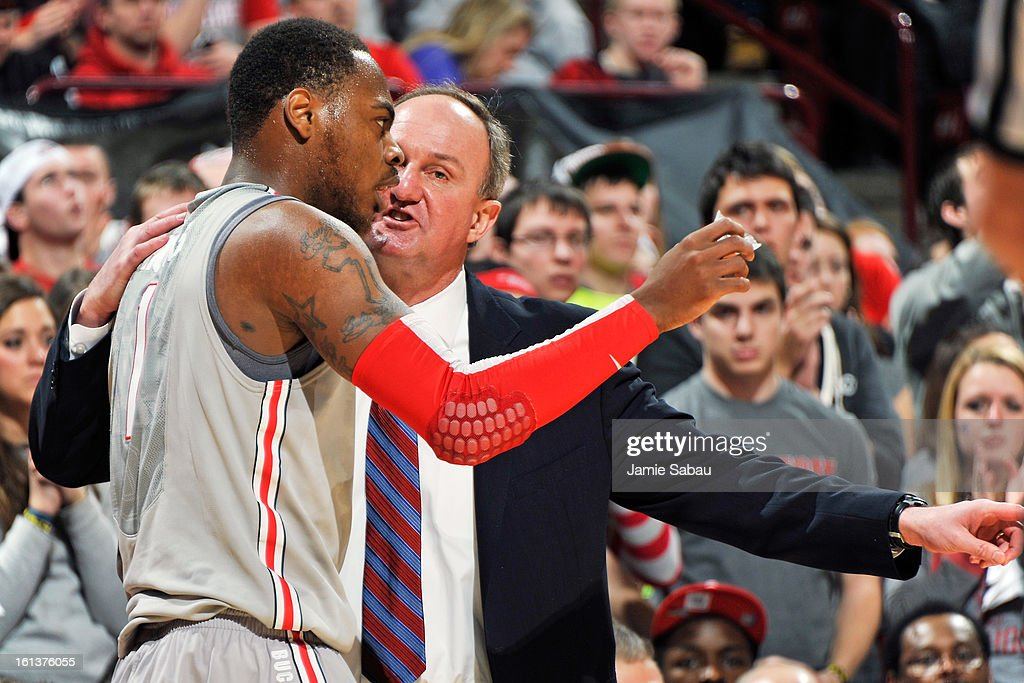 Head Coach <a gi-track='captionPersonalityLinkClicked' href=/galleries/search?phrase=Thad+Matta&family=editorial&specificpeople=799910 ng-click='$event.stopPropagation()'>Thad Matta</a> of the Ohio State Buckeyes offers instruction to Deshaun Thomas #1 of the Ohio State Buckeyes in the second half against the Indiana Hoosiers on February 10, 2013 at Value City Arena in Columbus, Ohio. Indiana defeated Ohio State 81-68.