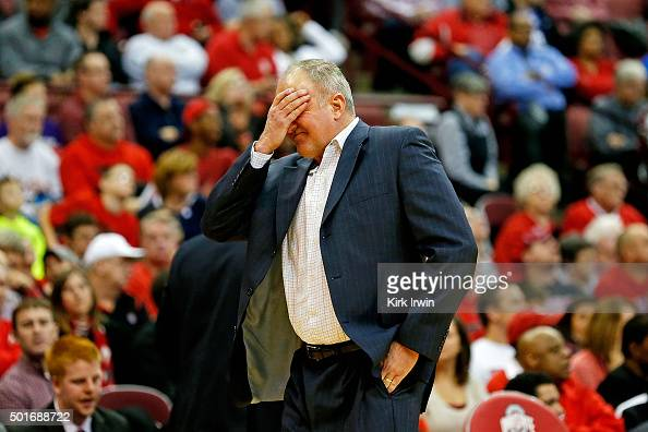 Head Coach Thad Matta of the Ohio State Buckeyes reacts after Jae'Sean Tate of the Ohio State Buckeyes was called for a foul late in the second half...