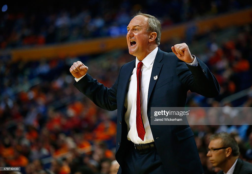 Head coach <a gi-track='captionPersonalityLinkClicked' href=/galleries/search?phrase=Thad+Matta&family=editorial&specificpeople=799910 ng-click='$event.stopPropagation()'>Thad Matta</a> of the Ohio State Buckeyes reacts during the second round of the 2014 NCAA Men's Basketball Tournament against the Dayton Flyers at the First Niagara Center on March 20, 2014 in Buffalo, New York.