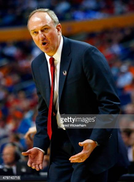 Head coach Thad Matta of the Ohio State Buckeyes reacts during the second round of the 2014 NCAA Men's Basketball Tournament against the Dayton...