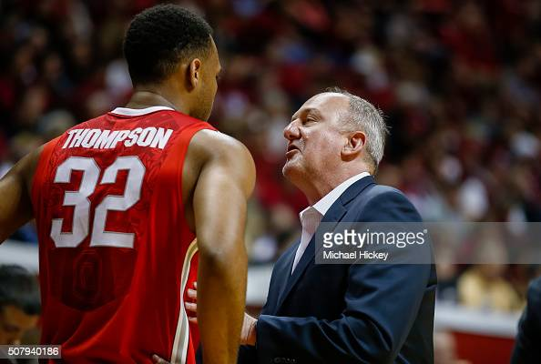 Head coach Thad Matta of the Ohio State Buckeyes talks to Trevor Thompson of the Ohio State Buckeyes during the game against the Indiana Hoosiers at...