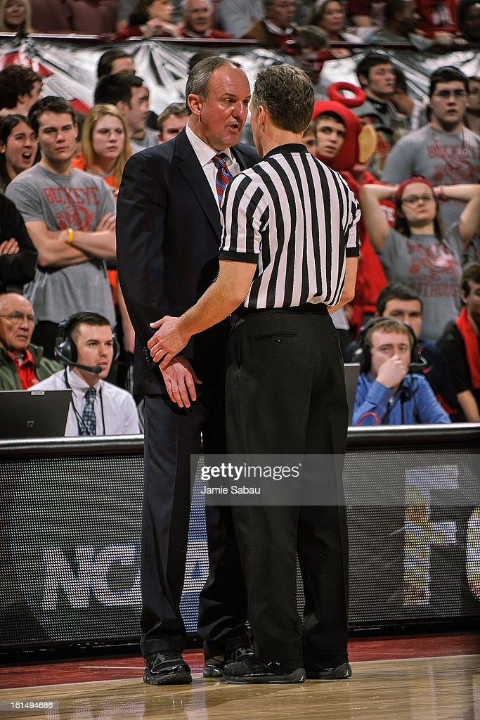 Head Coach Thad Matta of the Ohio State Buckeyes talks with a referee during a game against the Indiana Hoosiers on February 10, 2013 at Value City Arena in Columbus, Ohio.