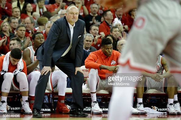 Head coach Thad Matta of the Ohio State Buckeyes watches from the sidelines during the first half against Wisconsin Badgers at Kohl Center on...