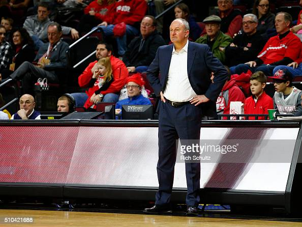 Head coach Thad Matta of the Ohio State Buckeyes watches the action against the Rutgers Scarlet Knights during the second half of a college...
