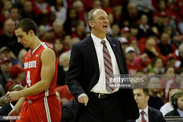 Head Coach Thad Matta of the Ohio State Buckeyes yells from the sideline during the first half of play against the Wisconsin Badgers at Kohl Center...