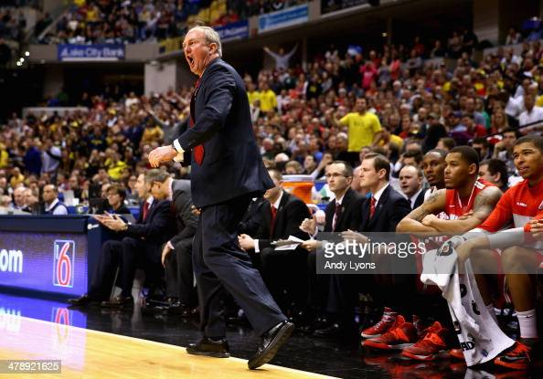 Head coach Thad Matta of the Ohio State Buckeyes yells to his team during the second half of the Big Ten Basketball Tournament Semifinal game against...