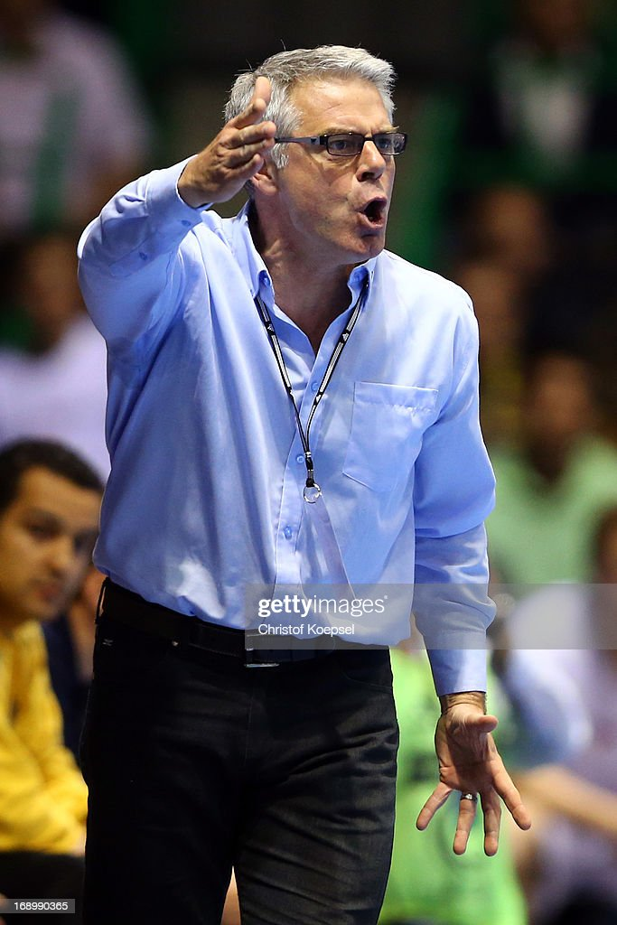 Head coach Thierry Anti of Nantes shouts during the EHF Cup Semi Final match between Tvis Holstebro and HBC Nantes at Palais des Sports de Beaulieu on May 18, 2013 in Nantes, France.