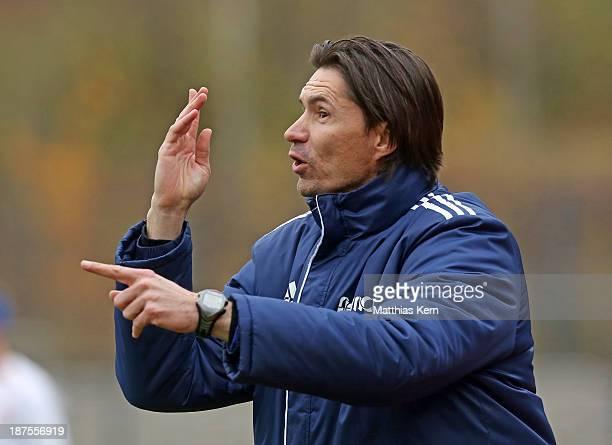 Head coach Thomas Brdaric of Neustrelitz gestures during the Regionalliga Nordost match between Berliner AK 07 and TSG Neustrelitz at Poststadion on...