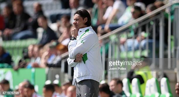 Head coach Thomas Brdaric of Wolfsburg II during the Regionalliga Nord match between Werder Bremen II and VFL Wolfsburg II at AOKStadion on May 2...