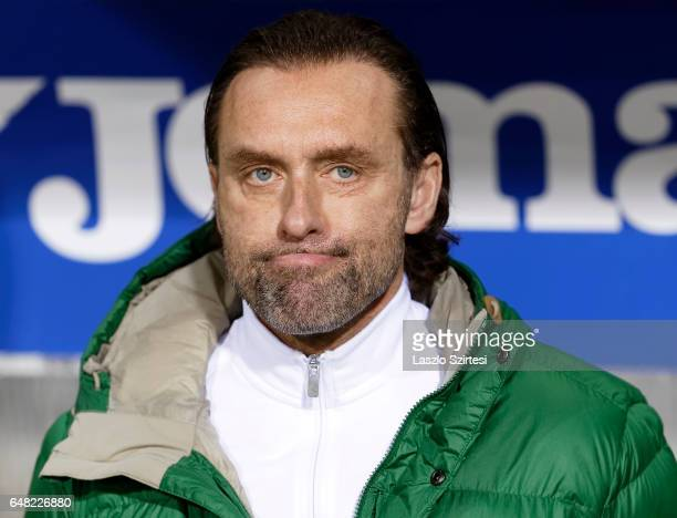 Head coach Thomas Doll of Ferencvarosi TC waits for the kickoff during the Hungarian OTP Bank Liga match between Ujpest FC and Ferencvarosi TC at...