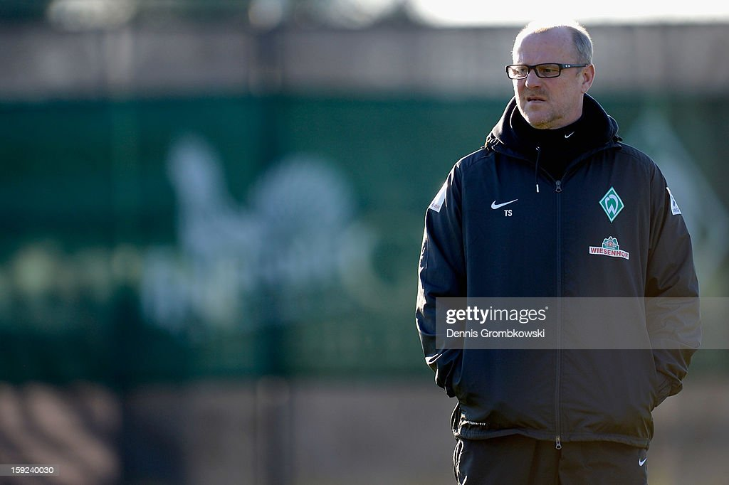 Head coach <a gi-track='captionPersonalityLinkClicked' href=/galleries/search?phrase=Thomas+Schaaf&family=editorial&specificpeople=216597 ng-click='$event.stopPropagation()'>Thomas Schaaf</a> looks on during a training session at day six of the Werder Bremen Training Camp on January 10, 2013 in Belek, Turkey.