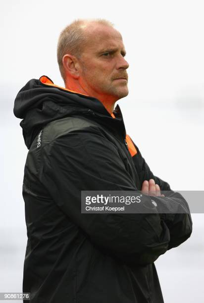 FUNCHAL MADEIRA PORTUGAL SEPTEMBER 16 Head coach Thomas Schaaf of Bremen attends the training session at the stadium of Madeira on September 16 2009...