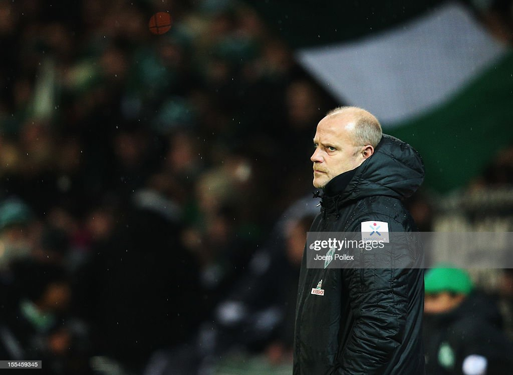 Head coach Thomas Schaaf of Bremen looks on prior to the Bundesliga match between SV Werder Bremen and 1. FSV Mainz 05 at Weser Stadium on November 4, 2012 in Bremen, Germany.