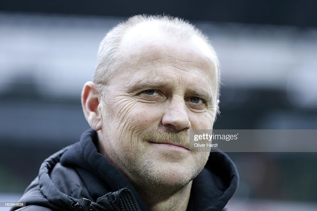Head coach <a gi-track='captionPersonalityLinkClicked' href=/galleries/search?phrase=Thomas+Schaaf&family=editorial&specificpeople=216597 ng-click='$event.stopPropagation()'>Thomas Schaaf</a> of Bremen looks on prior to the first Bundesliga match between SV Werder Bremen and FC Augsburg at Weser Stadium on March 2, 2013 in Bremen, Germany.