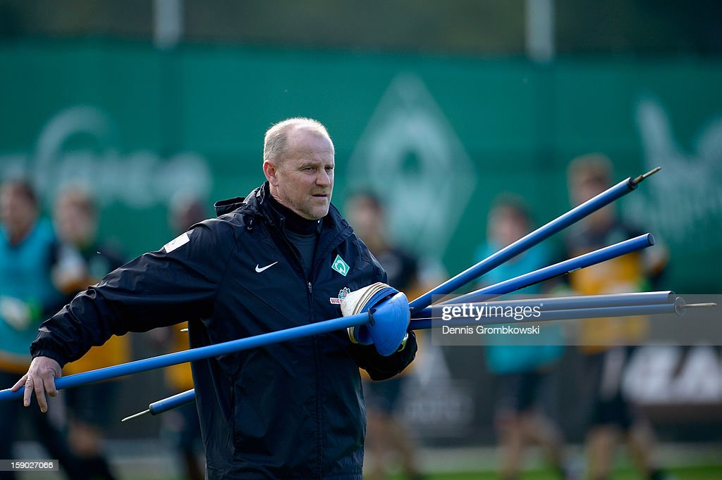 Head coach <a gi-track='captionPersonalityLinkClicked' href=/galleries/search?phrase=Thomas+Schaaf&family=editorial&specificpeople=216597 ng-click='$event.stopPropagation()'>Thomas Schaaf</a> of Bremen reacts during a training session at day two of the Werder Bremen Training Camp on January 6, 2013 in Belek, Turkey.