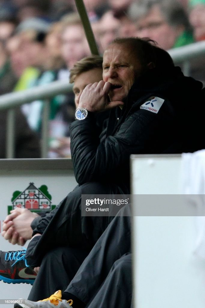 Head coach Thomas Schaaf of Bremen reacts during the Bundesliga match between SV Werder Bremen and FC Augsburg at Weser Stadium on March 2, 2013 in Bremen, Germany.