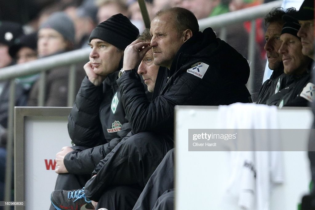 Head coach Thomas Schaaf of Bremen reacts during the Bundesliga match between SV Werder Bremen and FC Augsburg at Weser Stadium on March 2, 2013 in Bremen, Germany.