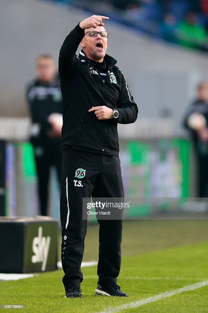 Head coach <a gi-track='captionPersonalityLinkClicked' href=/galleries/search?phrase=Thomas+Schaaf&family=editorial&specificpeople=216597 ng-click='$event.stopPropagation()'>Thomas Schaaf</a> of Hannover gesticulated during the first Bundesliga match between Hannover 96 and 1. FSV Mainz 05 at HDI-Arena on February 6, 2016 in Hanover, Germany.
