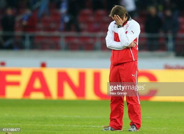 Head coach Thomas Schneider of Stuttgart reacts after the Bundesliga match between VfB Stuttgart and Hertha BSC Berlin at MercedesBenz Arena on...