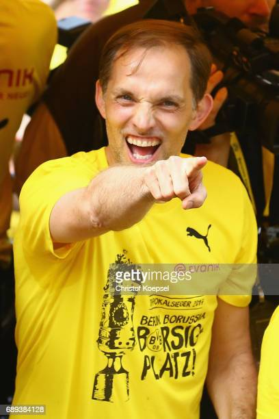 Head coach Thomas Tuchel celebrates during a parade at Borsigplatz of Borussia Dortmund's DFB Cup win on May 28 2017 in Dortmund Germany
