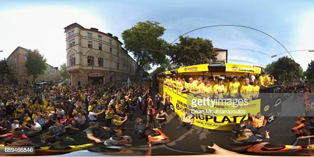 Head coach Thomas Tuchel leads the team celebrations during a parade near Borsigplatz for the celebrations of Borussia Dortmund's DFB Cup win on May...