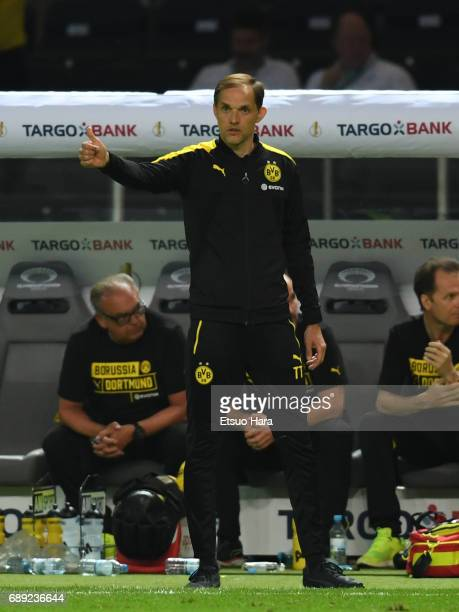 Head coach Thomas Tuchel of Borussia Dortmund gestures during the DFB Cup Final match between Eintracht Frankfurt and Borussia Dortmund at...