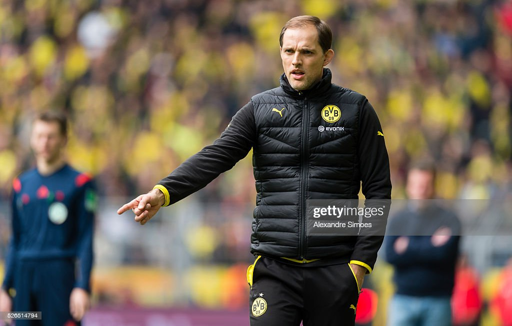 Head coach Thomas Tuchel of Borussia Dortmund gestures during the Bundesliga match between Borussia Dortmund and VfL Wolfsburg at Signal Iduna Park on April 30, 2016 in Dortmund, Germany.