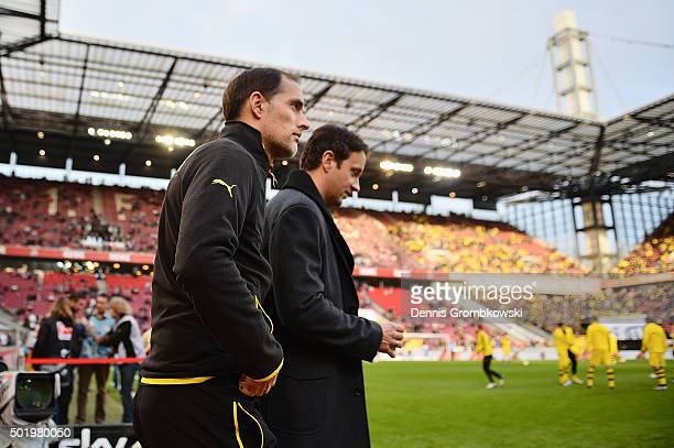 Head coach Thomas Tuchel of Borussia Dortmund looks on prior to kickoff during the Bundesliga match between 1 FC Koeln and Borussia Dortmund at...