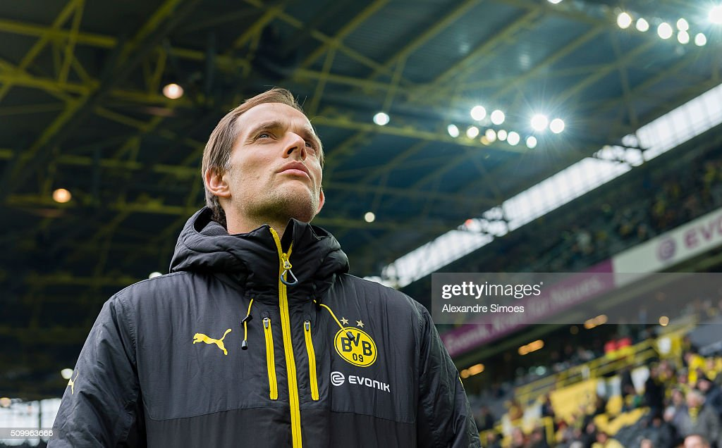 Head coach Thomas Tuchel of Borussia Dortmund prior to the Bundesliga match between Borussia Dortmund and Hannover 96 at Signal Iduna Park on February 13, 2016 in Dortmund, Germany.