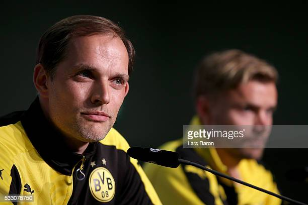 Head coach Thomas Tuchel of Borussia Dortmund talks to the media during the DFB Cup Final 2016 press conference at Olympiastadion on May 20 2016 in...