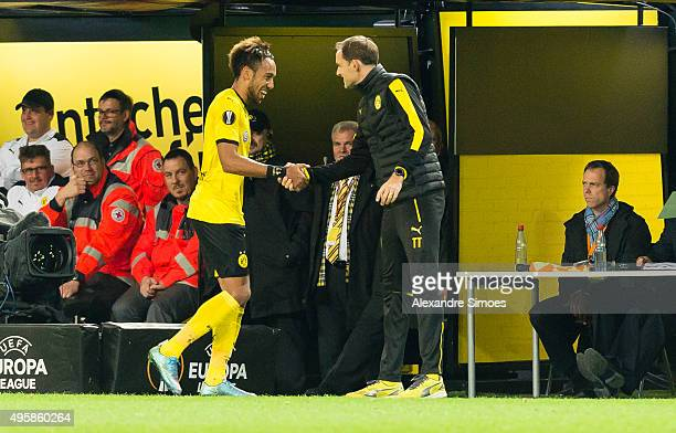 Head coach Thomas Tuchel of Borussia Dortmund together with PierreEmerick Aubameyang during the UEFA Europa League Group C match between Borussia...