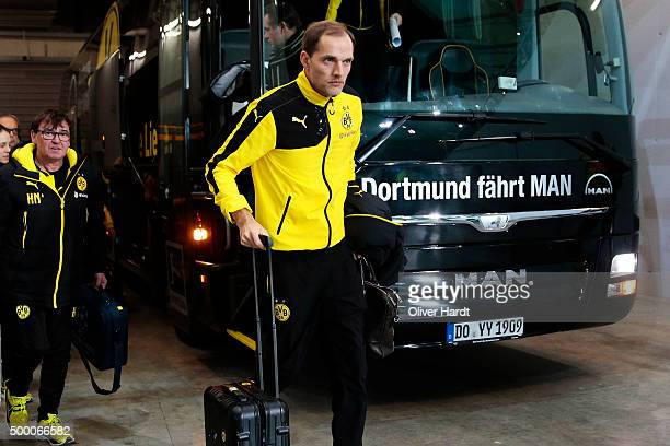 Head coach Thomas Tuchel of Dortmund arrival the First Bundesliga match at between VfL Wolfsburg and Borussia Dortmund at Volkswagen Arena on...