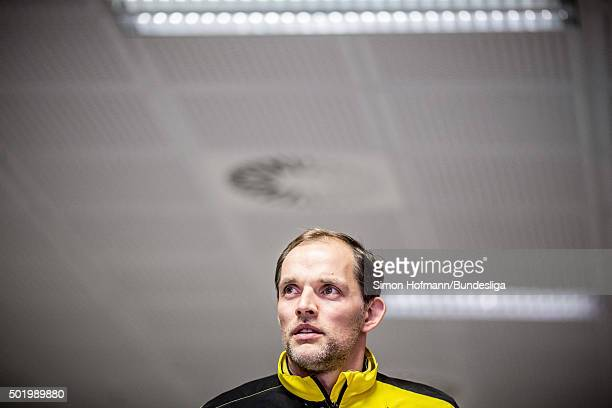 Head coach Thomas Tuchel of Dortmund arrives prior to the Bundesliga match between 1 FC Koeln and Borussia Dortmund at RheinEnergieStadion on...