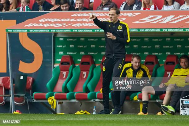 Head coach Thomas Tuchel of Dortmund gestures during the Bundesliga match between FC Augsburg and Borussia Dortmund at the WWKArena on May 13 2017 in...