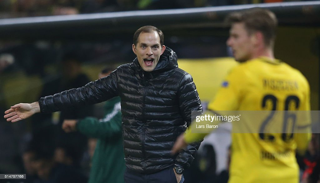 Head coach Thomas Tuchel of Dortmund gestures during the UEFA Europa League Round of 16 first leg match between Borussia Dortmund and Tottenham Hotspur at Signal Iduna Park on March 10, 2016 in Dortmund, Germany.